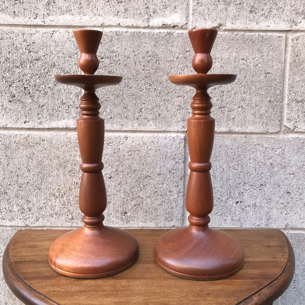 Pair of Wood Candleholders