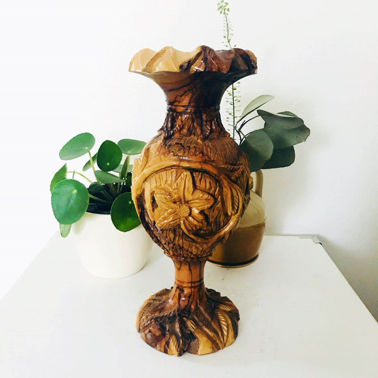 Carved Wood Candlestick Holder $25
