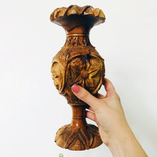 Load image into Gallery viewer, Carved Wood Candlestick Holder
