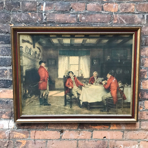 Large Antique Oil of Hunt Breakfast