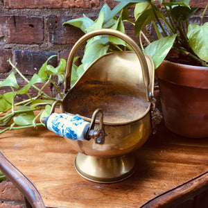 Vintage/Antique Brass Coal Bucket / Scuttle With Lion Heads & Delft China Handle