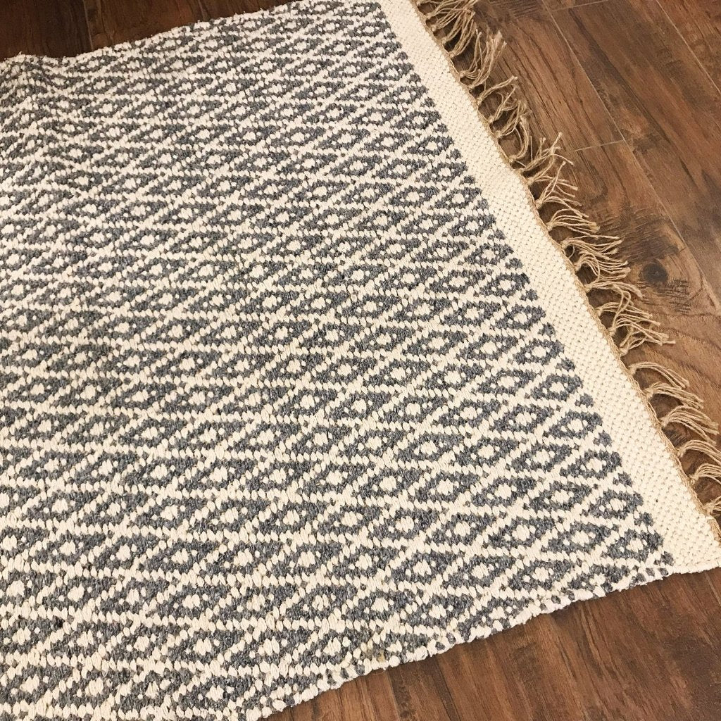 Cotton and Jute Rug Med Grey + White