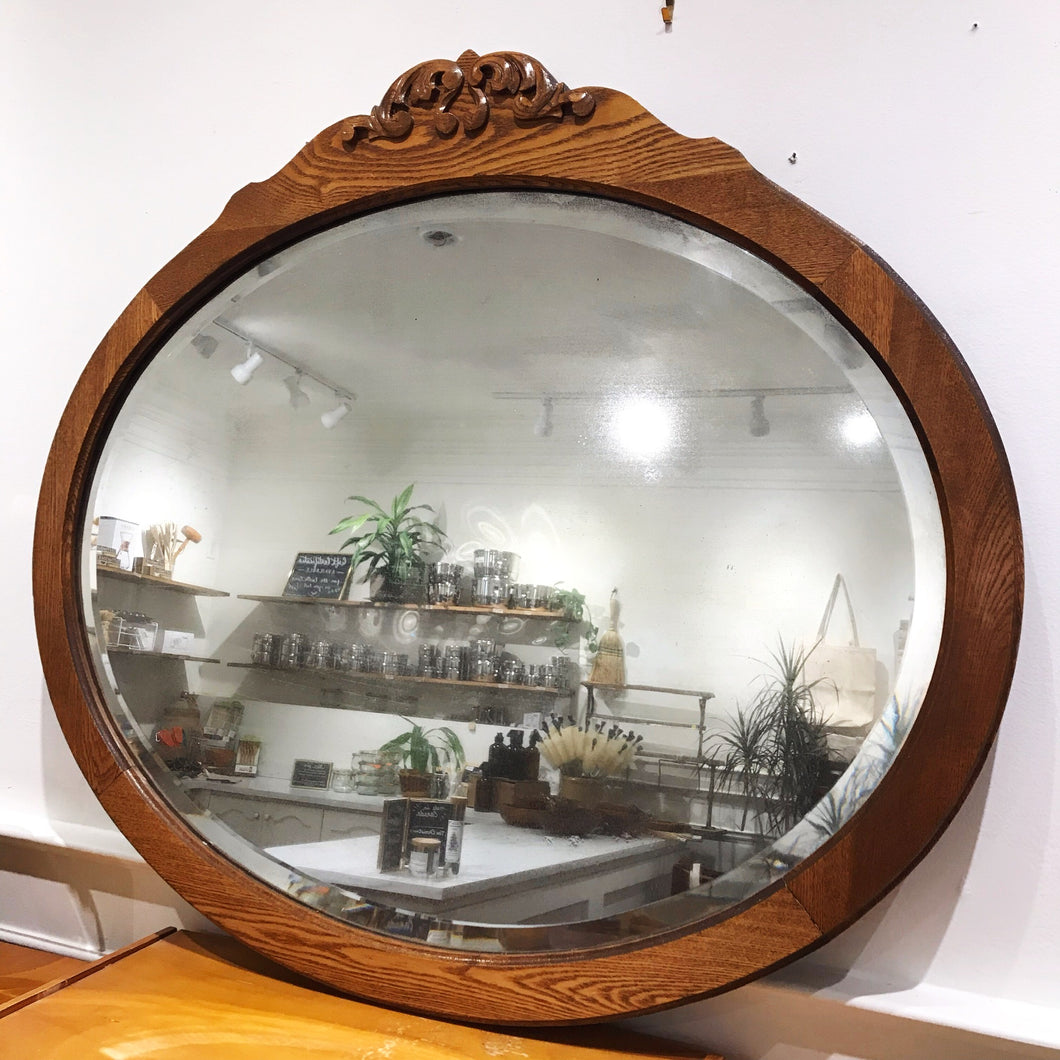 Antique Wooden Oval Mirror with Beveled Edges