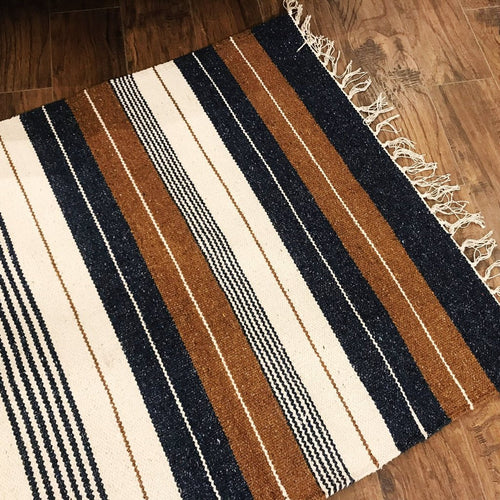 Cotton and Jute Rug Royal Blue