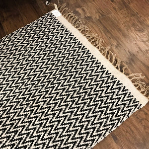 Cotton and Jute Rug Black