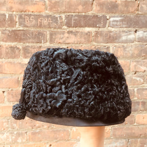 Vintage Black Lambs Wool 1960s Hat