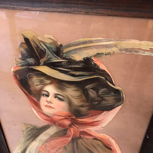 Antique Portrait of Woman in Hat