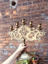 Load image into Gallery viewer, Incredible Solid Brass 5 Arm Candelabra with Dragon Motif