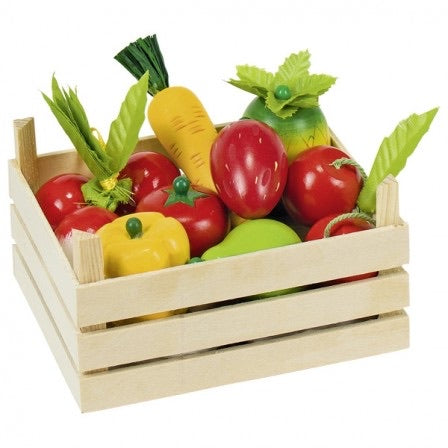 Wooden Crate with Fruits and Vegetables