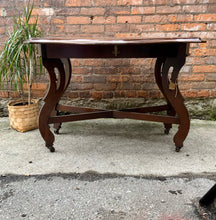 Load image into Gallery viewer, Vintage Solid Wood Drop Leaf Table on Castors