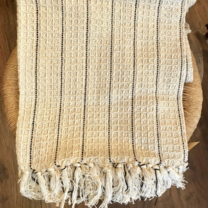 Cotton Handloomed Throw - Natural with Black