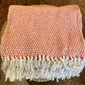 Cotton Handloomed Throw - Rusty Pink