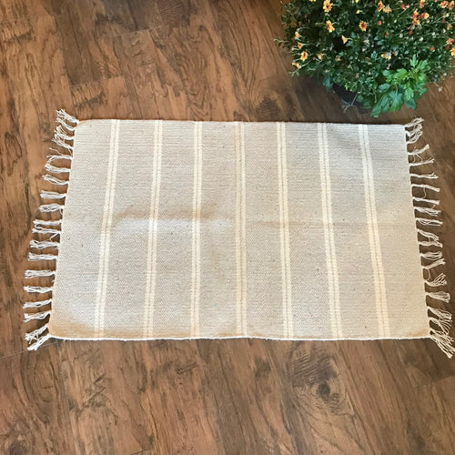 Cotton and Jute Rug Grey Natural (2 x 3')