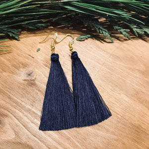 Navy Blue Silk Tassel Earrings