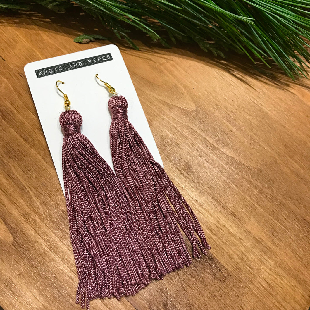 Lilac Long Tassel Earrings