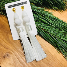 Load image into Gallery viewer, White Beaded Silk Tassel Earrings