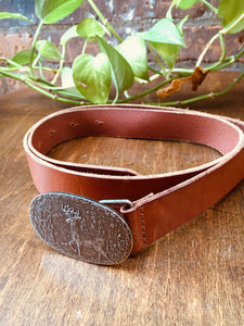 Vintage Leather Belt with Stag on Metal Buckle