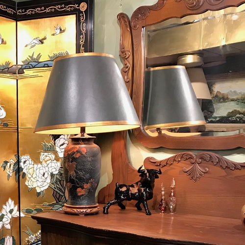 Spectacular Handpainted Lamp with Wooden Base and Black Shade