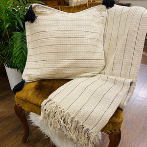 Cotton Handloomed Throw with Cushion Cover