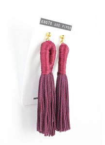 Plum Loop Tassel Earrings