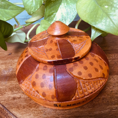 Handcarved Wooden Lidded Dish