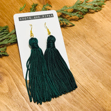 Load image into Gallery viewer, Forest Green Tassel Earrings