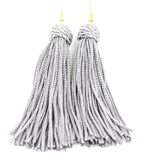 Beehive Grey Tassel Earrings