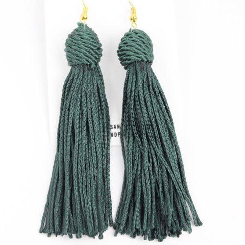 Beehive Emerald Green Tassel Earrings