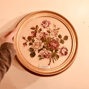Floral Needlepoint in Round Gold Frame