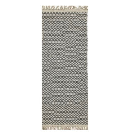 Cotton and Jute Runner Dark Grey + White