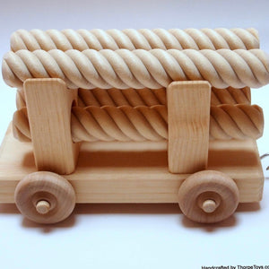 Wood Three Car Train Set