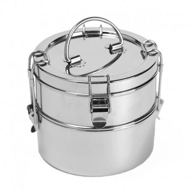2 Tier Wide Stainless Steel Food Container