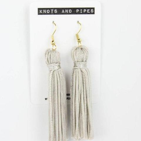 Subtle Grey Tassel Earrings
