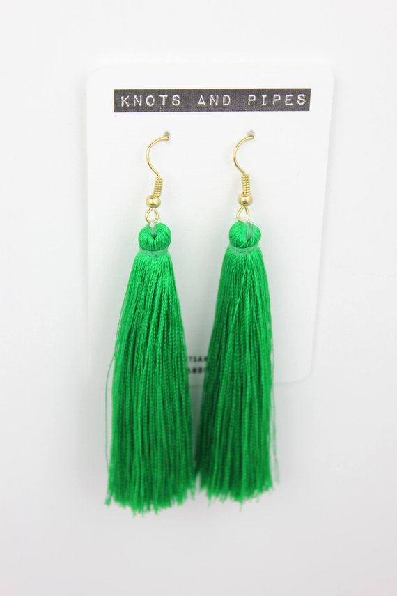 Kelly Green Silk Tassel Earrings