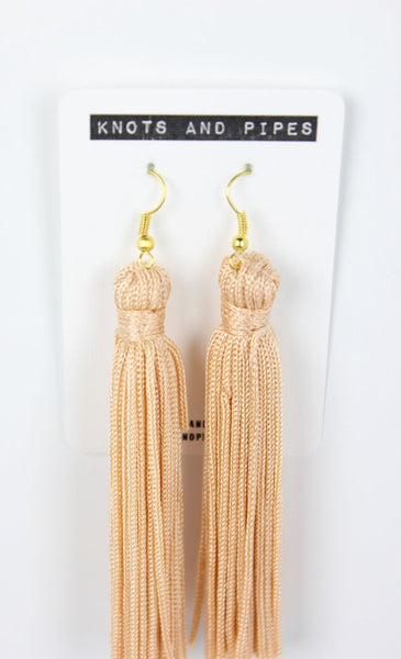 Peach Silk Tassel Earrings