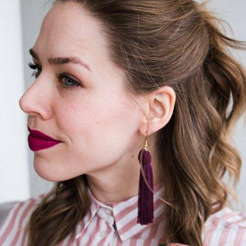 Beehive Plum Tassel Earrings