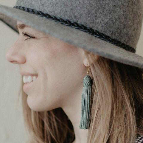 Sage Beehive Silk Tassel Earrings