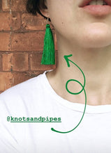 Load image into Gallery viewer, Kelly Green Silk Tassel Earrings