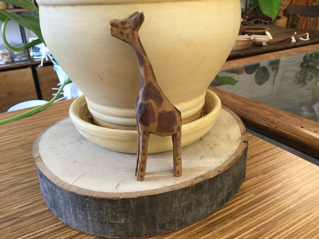 "Large Giraffe 4"" wood hand carved"