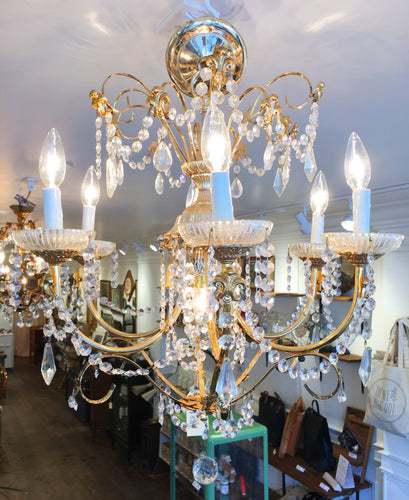 Elegant Crystal and Gold Chandelier