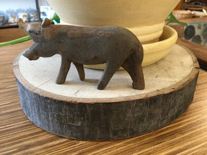 Large Hippo wood hand carved 4""