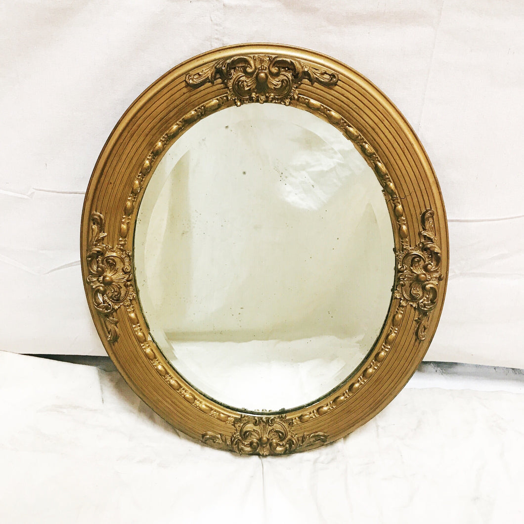 Bevelled Gold Round Mirror with Beaded Inner Frame and Acanthus Motif