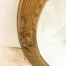 Load image into Gallery viewer, Bevelled Gold Round Mirror with Beaded Inner Frame and Acanthus Motif