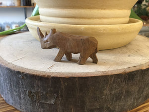 Small Rhino wood hand carved