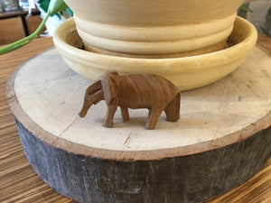 Small Elephant wood hand carved 2""