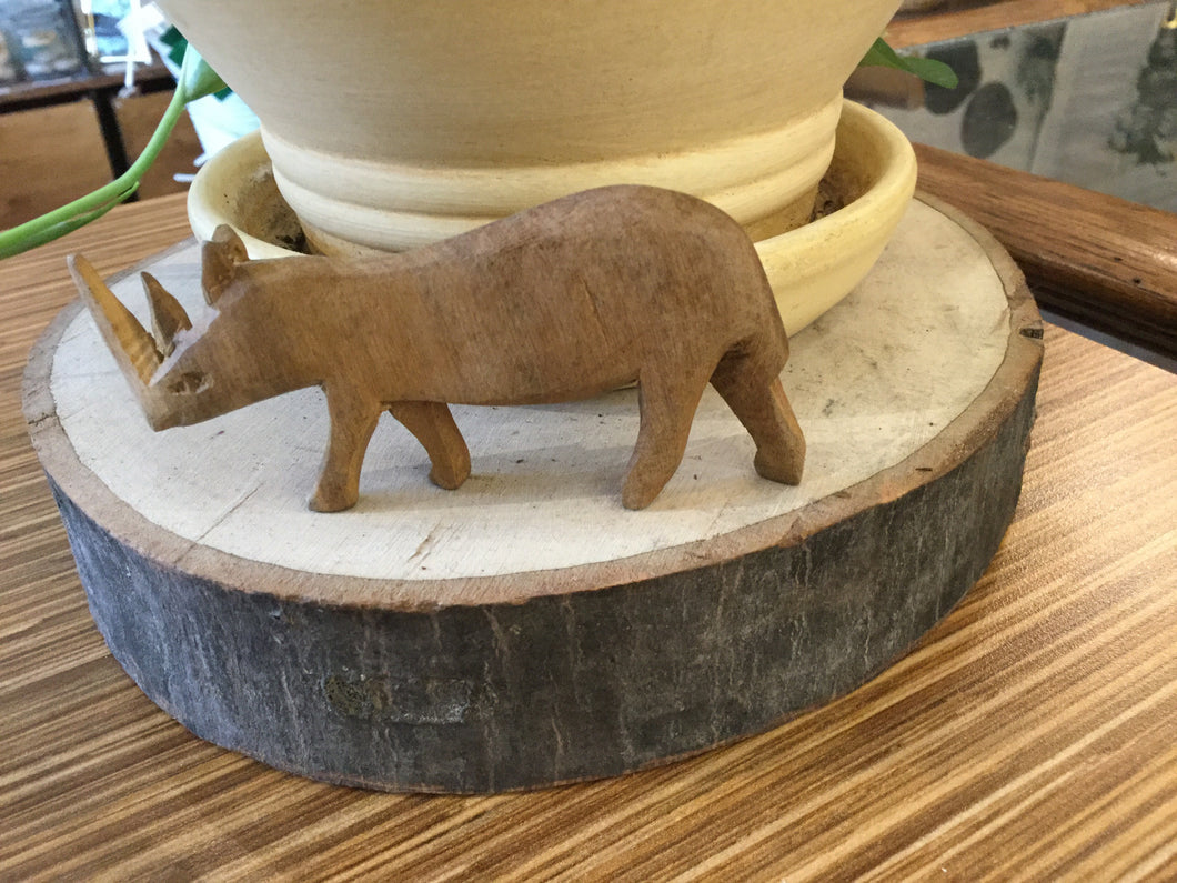 "Large Rhino wood hand carved 4"" length"