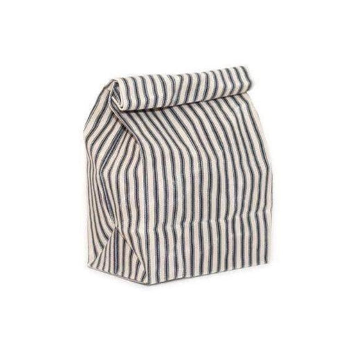 Waxed Canvas Lunch Bag - Navy Stripe