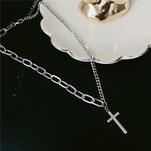Multilayers of Punk Silver Chains - Cross, Dogtags