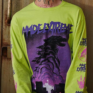 Godzilla Long-Sleeve - White/Red, Lime Green/Purple, Black/Red