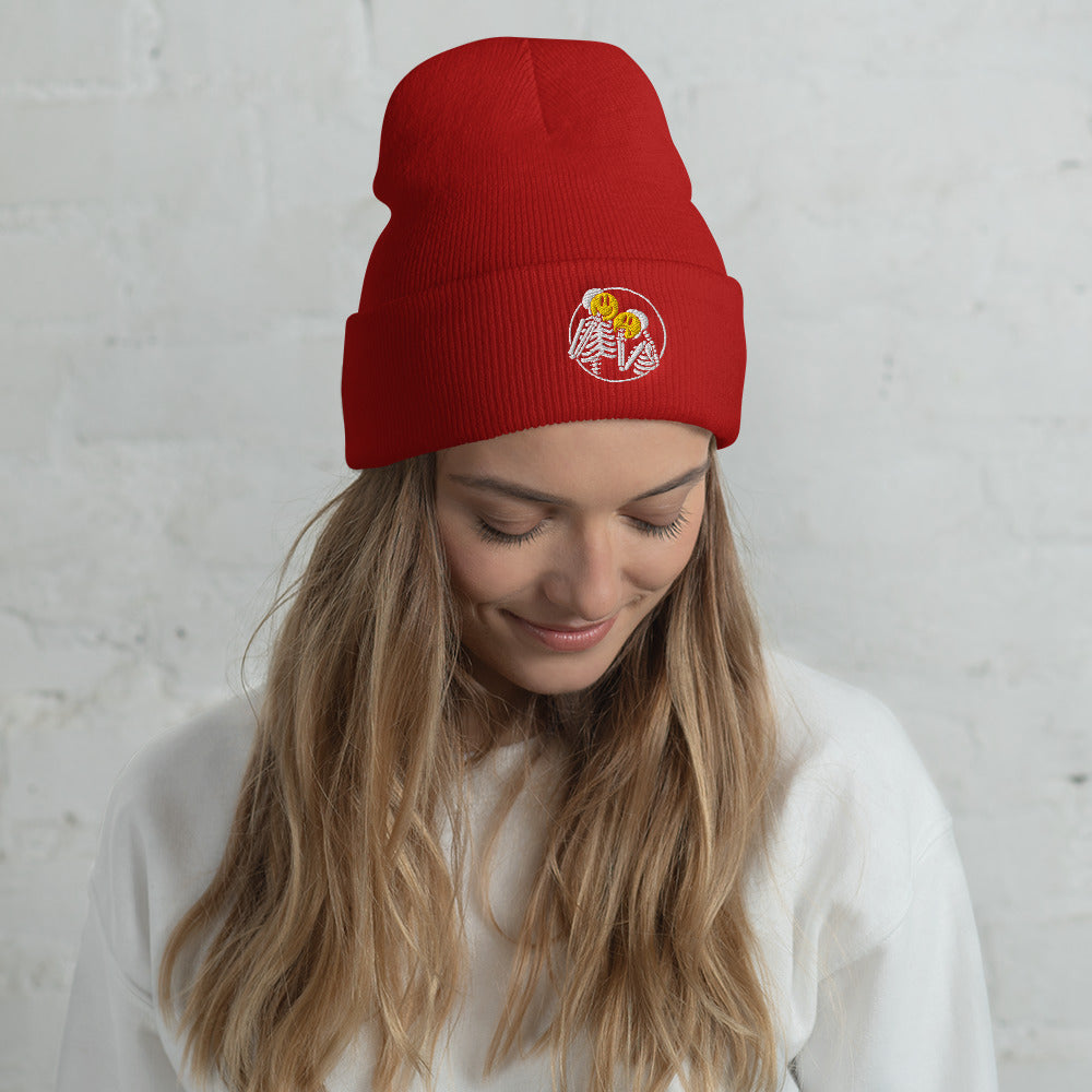 """Emotionless"" Cuffed Beanie - White Embroidery"